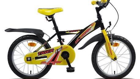 """Dětské kolo Olpran 2016 Tiger 16"""" sbezpečnostními prvky černé/žluté Sada cyklodoplňků (zvonek+blikačka+světlo) pro kolo dětské (zdarma)+ Reflexní sada 2 SportTeam (pásek, přívěsek, samolepky) - zelené v hodnotě 58 Kč + Doprava zdarma"""
