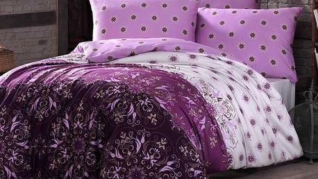 Night in Colours Bavlněné povlečení Alberica fialová, 140 x 200 cm, 70 x 80 cm