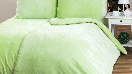 Povlečení Mikroplyš zelená, 140 x 200 cm, 70 x 90 cm