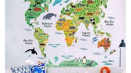 Samolepka na zeď Dětská mapa světa