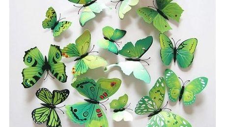 Motýlci na zeď - samolepka 12 ks