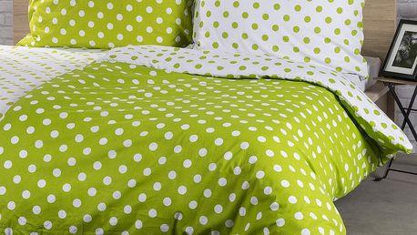 4Home Bavlněné povlečení Zelený puntík, 140 x 200 cm, 70 x 90 cm