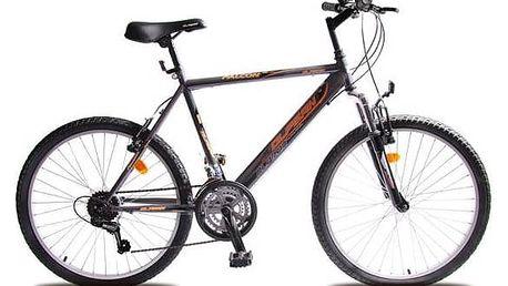 """Dětské kolo Olpran Falcon Sus 24"""" šedé/oranžové + Reflexní sada 2 SportTeam (pásek, přívěsek, samolepky) - zelené v hodnotě 58 Kč + Doprava zdarma"""