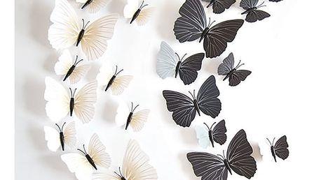 Černobílí dekorativní motýlci - 24 kusů - dodání do 2 dnů