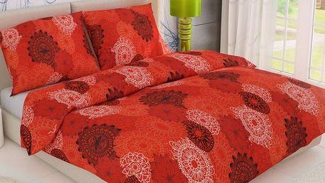 Kvalitex Bavlněné povlečení Kruhy červená, 140 x 200 cm, 70 x 90 cm