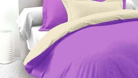 Kvalitex Saténové povlečení Luxury Collection smetanová / tmavě fialová, 240 x 220 cm, 2 ks 70 x 90 cm