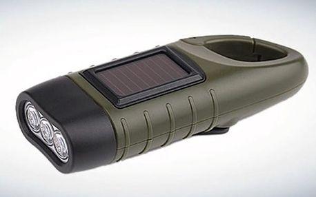Dynamo - solární outdoorová svítilna s karabinou