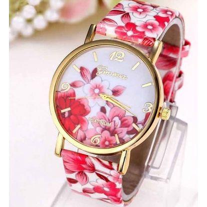 Dámské barevné hodinky s květinovým motivem - mnoho barev