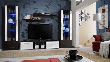 Obývací stěna GALINO C, wenge/wenge a bílý lesk