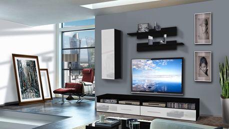Obývací stěna CLEVO A1, černá matná/bílý lesk
