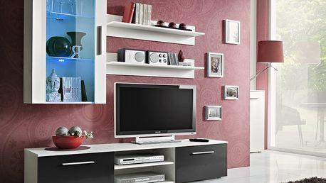 Obývací stěna GALINO E, bílá matná/bílá matná a černý lesk