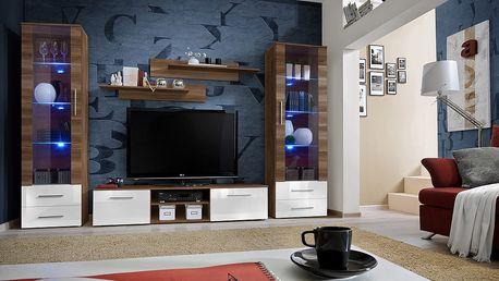 Obývací stěna GALINO C, švestka/švestka a bílý lesk