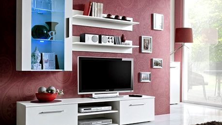 Obývací stěna GALINO E, bílá matná/bílá matná