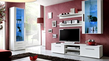 Obývací stěna GALINO F, bílá matná/bílá matná