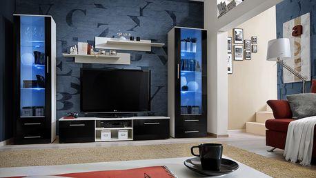 Obývací stěna GALINO C, bílá matná/černý lesk