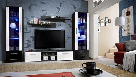 Obývací stěna GALINO C, černá matná/černý a bílý lesk