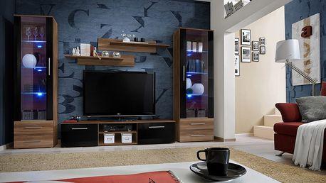 Obývací stěna GALINO C, švestka/švestka a černý lesk