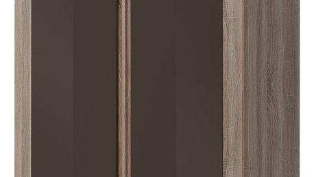 Šatní skříň BOSTON T3, dub truflový/bronzový lesk
