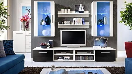 Obývací stěna GALINO G, bílá matná/bílá matná a černý lesk
