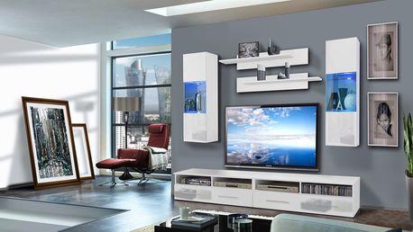 Obývací stěna CLEVO C2, bílá matná/bílý lesk