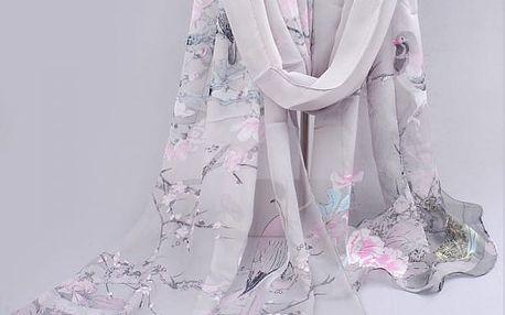 Dámský barevný šátek s ptáčky v několika variantách - varianta 1 - dodání do 2 dnů