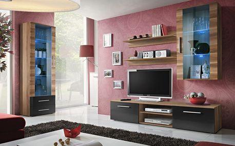 Obývací stěna GALINO F, švestka/švestka a černý lesk