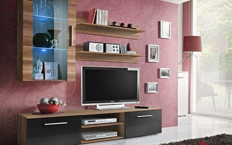 Obývací stěna GALINO E, švestka/švestka a černý lesk
