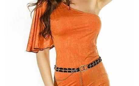 Luxusní šaty CR-3253 Orange Chilirose S/M - Oranžová