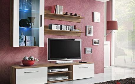 Obývací stěna GALINO E, švestka/bílý lesk