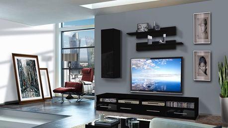 Obývací stěna CLEVO A1, černá matná/černý lesk