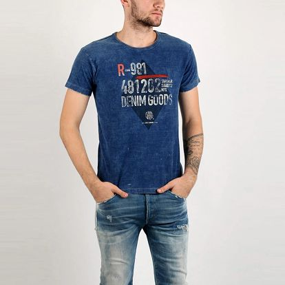Tričko Replay INDIGO JERSEY L Modrá