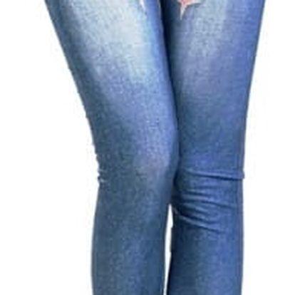 Dámské modré džegíny s různými vzory