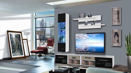 Obývací stěna INVENTO F1, bílá matná/černý lesk