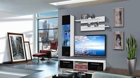 Obývací stěna COVER F1, bílá matná/černý lesk