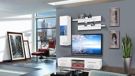 Obývací stěna COVER C1, bílá matná/bílý lesk
