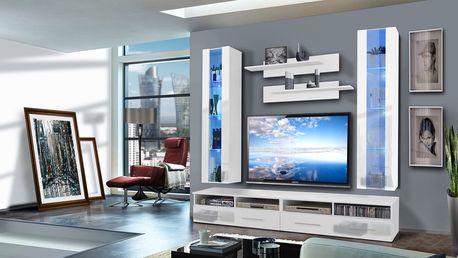 Obývací stěna CLEVO E2, bílá matná/bílý lesk