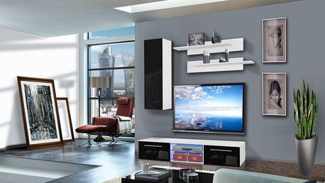 Obývací stěna DRADA A1, bílá matná/černý lesk