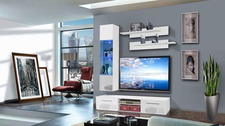 Obývací stěna COVER F1, bílá matná/bílý lesk