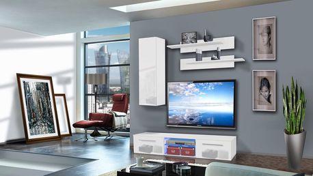 Obývací stěna DRADA A1, bílá matná/bílý lesk