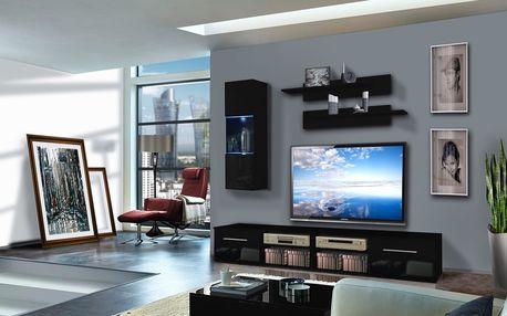 Obývací stěna INVENTO C1, černá matná/černý lesk