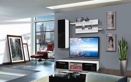 Obývací stěna COVER A1, bílá matná/černý lesk