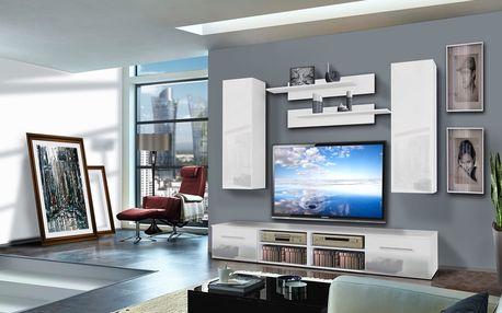 Obývací stěna INVENTO A2, bílá matná/bílý lesk