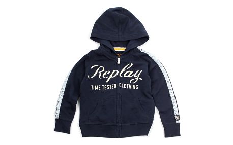 Mikina Replay COTTON / POLY FLEECE 6M Modrá