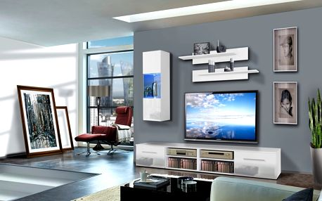 Obývací stěna INVENTO C1, bílá matná/bílý lesk