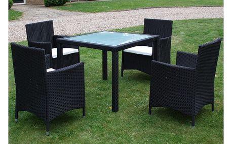 Set zahradního ratanového nábytku černý, 4 židle a stůl V1755 Dekorhome