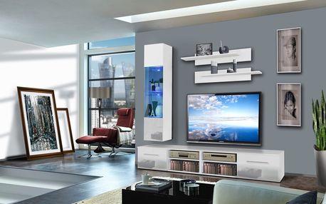 Obývací stěna INVENTO F1, bílá matná/bílý lesk