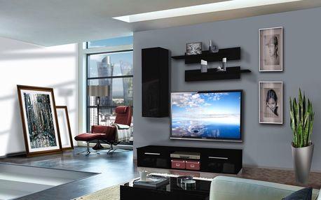 Obývací stěna COVER A1, černá matná/černý lesk