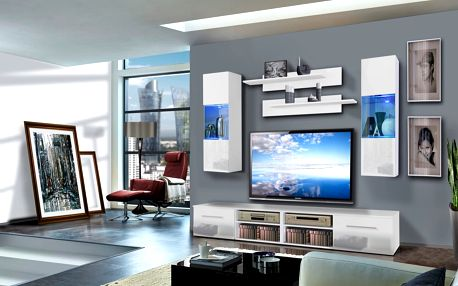 Obývací stěna INVENTO C2, bílá matná/bílý lesk