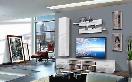 Obývací stěna INVENTO D1, bílá matná/bílý lesk