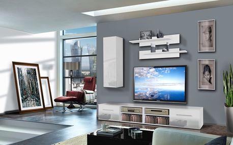Obývací stěna INVENTO A1, bílá matná/bílý lesk